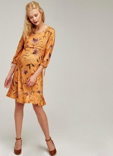 Hooyo Emzirme Özellikli Fırfırlı Hamile Elbisesi Sarı
